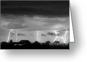 Lightning Bolt Pictures Greeting Cards - Lightning Thunderstorm July 12 2011 Strikes over the City BW Greeting Card by James Bo Insogna