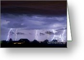 Lightning Bolt Pictures Greeting Cards - Lightning Thunderstorm July 12 2011 Strikes over the City Greeting Card by James Bo Insogna
