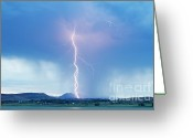 Unusual Lightning Greeting Cards - Lightning Twine Striking the Colorado Rocky Mountain Foothills Greeting Card by James Bo Insogna