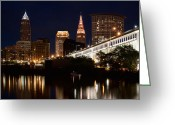 Cuyahoga Greeting Cards - Lights In Cleveland Ohio Greeting Card by Dale Kincaid