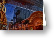 Fremont Street Greeting Cards - Lights in Down Town Las Vegas Greeting Card by Susanne Van Hulst