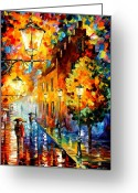 Afremov Greeting Cards - Lights In The Night Greeting Card by Leonid Afremov