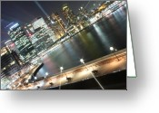 Sydney Harbour. Circular Quay Greeting Cards - Lights of Circular Quay Greeting Card by Kirsten Chee