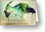 Girls Greeting Cards - Like air I willl raise Greeting Card by Karina Llergo Salto
