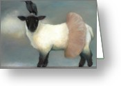 Tightrope Greeting Cards - ...like Lambs.. Greeting Card by Katherine DuBose Fuerst