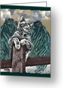 Kitty Greeting Cards - lil Angels Angel on a Fencepost Greeting Card by Tisha McGee