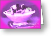 Teacup Digital Art Greeting Cards - lil Angels Teacup Pups Greeting Card by Tisha McGee
