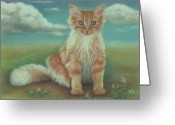 Kitten Pastels Greeting Cards - Lil Boo Kitten Greeting Card by Pamela Humbargar
