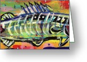 Atlantic Ocean Drawings Greeting Cards - Lil Funky Folk Fish number ten Greeting Card by Robert Wolverton Jr
