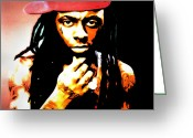Lil Wayne Greeting Cards - Lil Wayne by GBS Greeting Card by Anibal Diaz