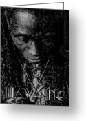Lil Wayne Greeting Cards - Lil Wayne Distorted Mind Greeting Card by Anibal Diaz