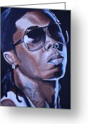 Gear Greeting Cards - Lil Wayne Portrait Greeting Card by Mikayla Henderson