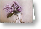 Stillife Greeting Cards - Lilac And Cherries Greeting Card by Priska Wettstein