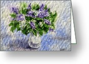 Watercolor By Irina Greeting Cards - Lilac Bouquet  Greeting Card by Irina Sztukowski