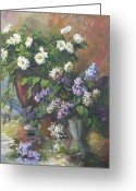Aster  Painting Greeting Cards - Lilacs and asters Greeting Card by Tigran Ghulyan