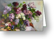 Drapery Greeting Cards - Lilacs and pansies Greeting Card by Tigran Ghulyan