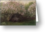 Seated Greeting Cards - Lilacs Greeting Card by Claude Monet