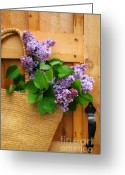 Wicker Greeting Cards - Lilacs in a straw purse Greeting Card by Sandra Cunningham