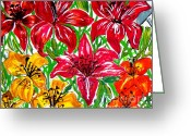 Botanical Drawings Greeting Cards - Lilies Greeting Card by Nancy Rucker