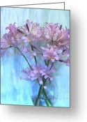 Clear Glass Greeting Cards - Lilies Pink Greeting Card by Marsha Heiken