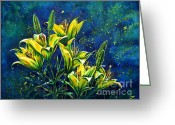 Most Greeting Cards - Lilies Greeting Card by Zaira Dzhaubaeva