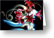 Lightpaint Greeting Cards - Lillies Greeting Card by Andrew Nourse