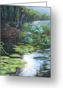 Lilly Pad Painting Greeting Cards - Lilly Pads Greeting Card by Gary Symington