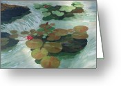 Lilly Pad Painting Greeting Cards - Lilly Pads Greeting Card by Keith Wilkie
