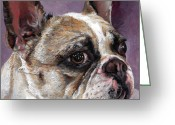 Purple Greeting Cards - Lilly The French Bulldog Greeting Card by Enzie Shahmiri