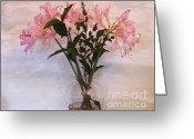 Clear Glass Greeting Cards - Lily Bouquet Greeting Card by Marsha Heiken