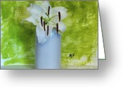 Lime Photo Greeting Cards - Lily Green Greeting Card by Marsha Heiken