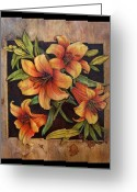 Floral Pyrography Greeting Cards - Lily Happy Greeting Card by Cynthia Adams
