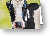 Cow Greeting Cards - Lily Greeting Card by Laura Carey