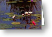 Happy Texas Artist Greeting Cards - Lily Pond Watercolor Greeting Card by Fred Jinkins
