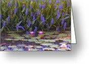 Happy Texas Artist Greeting Cards - Lily Pond Watercolor Painting Greeting Card by Fred Jinkins