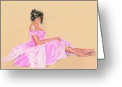Person Pastels Greeting Cards - Lily the Pink Greeting Card by Vanda Luddy
