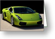Italian Classic Cars Greeting Cards - Lime-Borghini Greeting Card by Peter Tellone