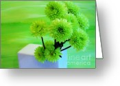 Wrap...floral Greeting Cards - Lime Flowers Greeting Card by Marsha Heiken