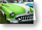 Fifties Buick Greeting Cards - Lime Green 1950s Buick Greeting Card by Kym Backland