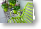 Store Fronts Greeting Cards - Lime Green Greeting Card by Cindy Wright