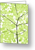 White And Green Greeting Cards - Lime Green Leaves Melody Greeting Card by Jennie Marie Schell