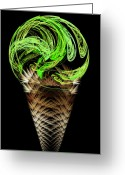 Dessert Digital Art Greeting Cards - Lime Ice Cream Cone Greeting Card by Andee Photography
