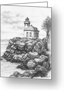 Lime Drawings Greeting Cards - Lime Kiln Lighthouse Greeting Card by Kim Lockman