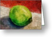 Lime Digital Art Greeting Cards - Lime Still Life Greeting Card by Michelle Calkins
