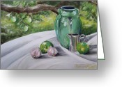 Setting Pastels Greeting Cards - Limes and Mirabelles Greeting Card by Marie-Claire Dole