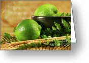 Wicker Greeting Cards - Limes with chopsticks Greeting Card by Sandra Cunningham