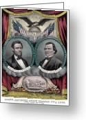 President Drawings Greeting Cards - Lincoln and Johnson Election Banner 1864 Greeting Card by War Is Hell Store