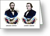 President Drawings Greeting Cards - Lincoln and Johnson Greeting Card by War Is Hell Store