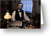 Military Pictures Greeting Cards - Lincoln at Breakfast 2 Greeting Card by Ray Downing