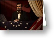 Military Pictures Greeting Cards - Lincoln at Fords Theater 2 Greeting Card by Ray Downing